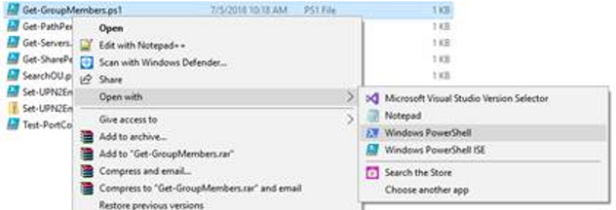 open with powershell